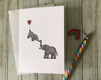 Love You - Greeting Card - Cute Elephant - Baby Elephant - Card for a Parent - Father's Day - Mother's Day