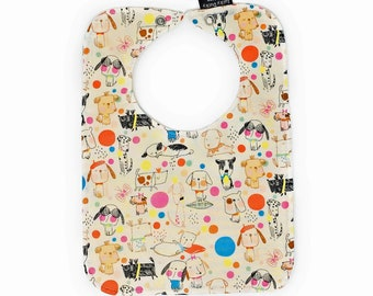 Baby Bibs, Cool Pups, Bib with snap closure, lined bib, gender neutral baby, baby gift set, bib with dogs