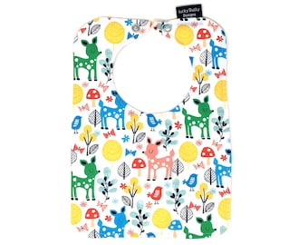 Woodland animal baby bibs, Gender neutral baby gift,  Bib with snap closure - lined with cotton batting, drool bib, bib with deer