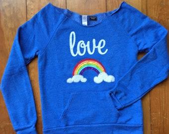 Love Rainbow Sweatshirt with Scoop neck,  Alternative Apparel sweatshirt, cute rainbow shirt