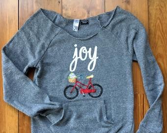 Joy Bicycle Sweatshirt with Scoop neck, Bike flower basket, Alternative Apparel sweatshirt, cute bike shirt