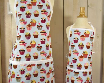 Cupcake Mommy and Me (toddler size) Apron Set - Reversible