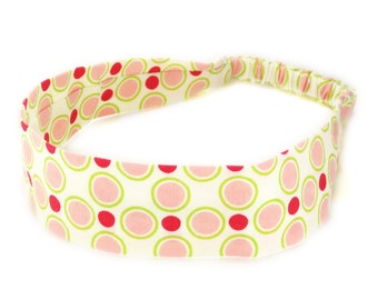 """Fabric Headband - Meadowsweet Dot - Pick your size - fit toddlers to adults - 1-1/2"""" wide"""