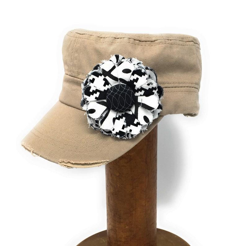 Khaki Cadet Cap with Fabric Flower Pin distressed cadet cap image 0