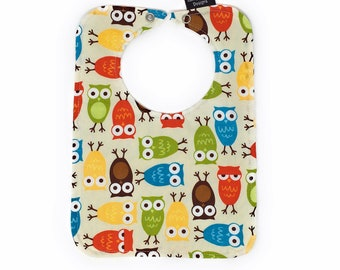 Cute baby bib with snap closure, owl baby bib, lined bib, absorbant bib, gender neutral