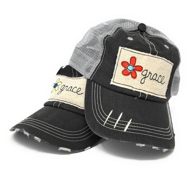 Distressed Trucker Hat Grace Trucker Cap Womens Trucker image 0