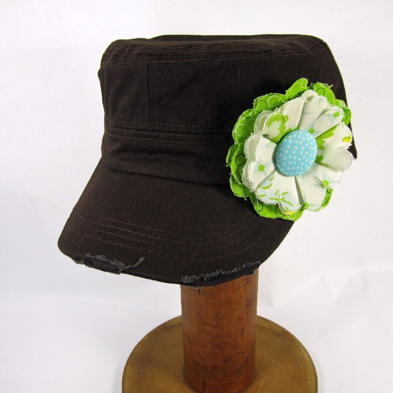 Brown Cadet Cap with Fabric Flower Pin distressed cadet cap image 0