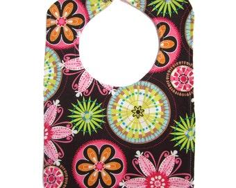 Floral Baby Bibs for Girls - Reversible Bib - Carnival Bloom Reversible Bib with snap closure - Cute Baby Bib - Baby Shower Gift