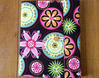 Fabric Book Cover - Carnival Bloom Reusable Fabric Covered Composition Book Cover -pen and composition book -  journal, notebook, diary