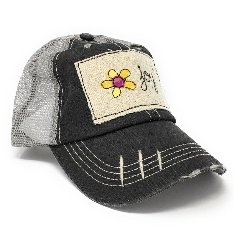 Distressed Trucker Hat Joy Trucker Cap Womens Trucker Hat image 0