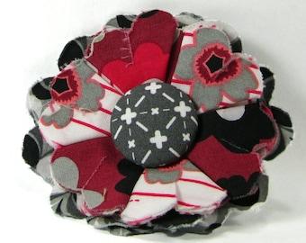 Fabric Flower Pin, Fabric Flower Brooch, raw edge flower, black, gray, merlot - FP05