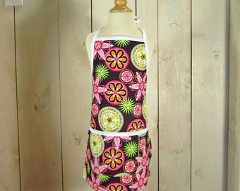 Carnival Bloom Toddler Apron - Reversible Apron, full apron, aproon with pockets, apron for kids