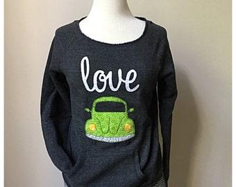 Love Bug Sweatshirt, Scoop neck sweatshirt, vw Beetle, VW Bug shirt, volkswagon,Alternative Apparel maniac sweatshirt