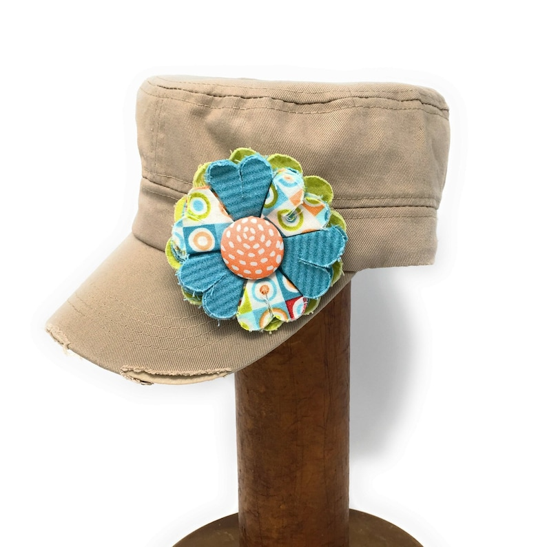 Khaki Cadet Cap with Fabric Flower Pin distressed cadet cap image 0