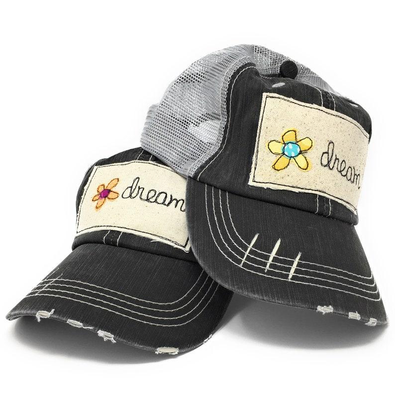 Distressed Trucker Hat Dream Trucker Cap Womens Trucker image 0