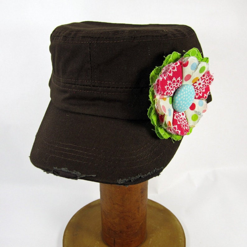 Brown Cadet Cap with Fabric Flower Pin, distressed cadet cap, adjustable  cadet cap, removable fabric flower pin - pink, blue - BR20