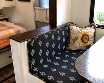 Camper Cushion Covers for dinette - set of 4 - with zipper and piping - made to order - you provide fabric - Happy Campers of the South