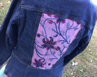 Upcycled preowned jean jacket customized embellished with pink floral scarf fabric sewn on back - Size 8  (#J01)