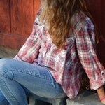 Distressed Faded Glory red plaid shirt - bleached dipped splattered distressed ombre - Size XL 16-18 (women's) (S10)