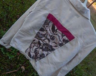 Boho Jacket - custom embellished jacket with fabric sewn on back - Size 2 (#J07)