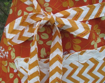 Apron - orange coordinating Moda fabrics - adult size - full apron - by Happy Campers of the South (APR164)