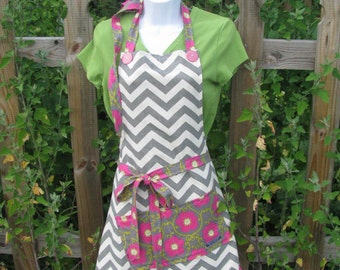 Apron - gray chevron with pink flowers - adult size - full apron - by Happy Campers of the South (APR162)