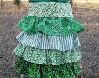 Irish St. Patrick's Day Ruffle Apron - shamrocks, clover, stripes, dots - bartender, waitress - Happy Campers of the South (APR121)
