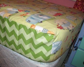 Fitted Bed Sheet - twin size  - you provide the fabric - custom - made to order - by Happy Campers of the South