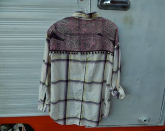 Stylish embellished lavender yellow plaid shirt with coordinating piece of Ann Taylor scarf with ball fringe sewn on back - Size XS (#S89)