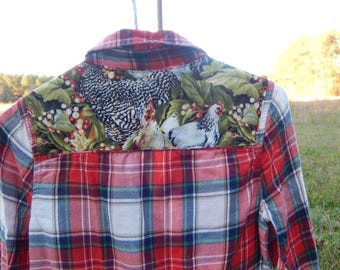 Stylish Chicken Shirt - Custom upcycled embellished red white green plaid shirt with chicken fabric sewn on back - Size S Red Camel (#S84)