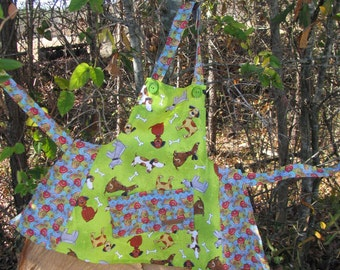 Lime Green Apron with dogs and bones - child size - fun  - by Happy Campers of the South (APR074)