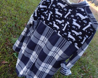 Dachshund Lover's Shirt - one-of-a-kind embellished black and white plaid shirt with Dachschund fabric sewn on back - Size S (#S85)