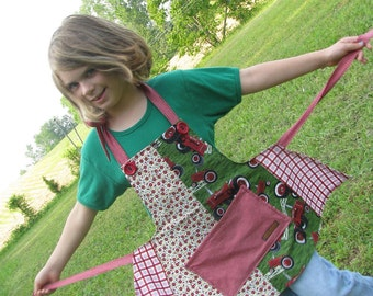 Farmall red tractor apron with flowers and plaid - girl child - by Happy Campers of the South (APR100)