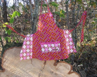 Funky Fun Pink Red Orange Apron - child size - by Happy Campers of the South (APR076)