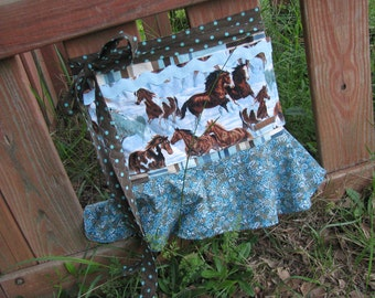 Flirty Horse Lover's half apron - cowgirl at heart - flounce ruffle - blue brown - OOAK - by Happy Campers of the South (APR130)