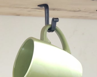 Coffee cup hook, Under shelf black metal hook, rustic under counter hook, mug holder, coffee bar cabinet