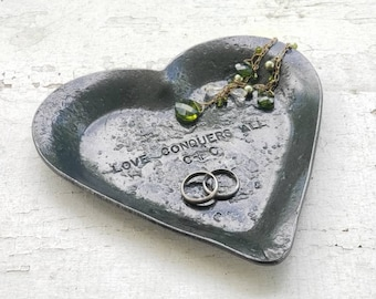 Heart shaped iron jewelry bowl, hand forged metal catch all, personalized message, song lyrics, love quotes for him or her,