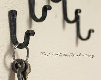 Dog leash hook or key holder, small hand forged key hanger, blacksmith, hook, wall hook, jewelry hook, black hooks, farmhouse decor