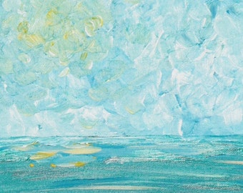 Subtle Sunny Ocean, 8x10 Original Abstract Acrylic Painting on Canvas Board