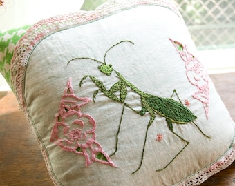 Preying Mantis Pillow 10x10 Decorative Embroidery