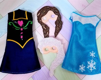 """Doll 12"""" or Elf Clothes Elsa or Ana Dress with Mask"""