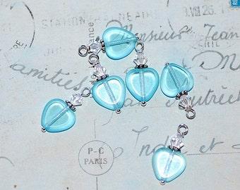 NEW Crystal Window heart Charms