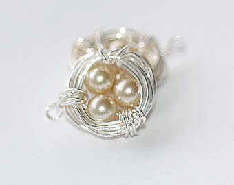 Silver  Sparrow Nest Charms Free Shipping coupon bead dangles jewelry making supplies pendant earrings pearls wire wrapped 2 pc