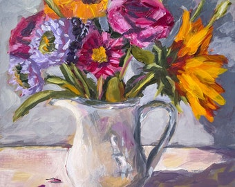 Gicleé Print, Floral Still Life Painting of flowers in White Pitcher