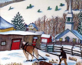Logger & Church East Corinth, Vermont , Fine Art Gicleé Print of a Painting on Silk