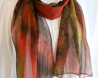 Silk Scarf, Hand painted Chiffon, Long