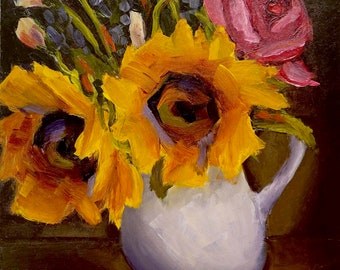 Gicleé Print, Floral Still Life Painting of Sunflowers in White Pitcher