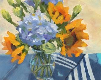 Fine Art Print, Sunflowers and Hydrangeas