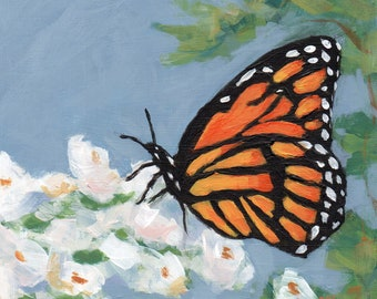 Fine Art Print, Monarch Butterfly on Rose Bush