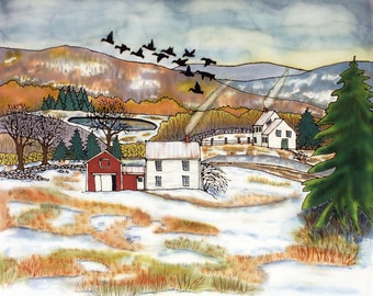 Heading South, Fine Art Gicleé Print of a Painting on Silk